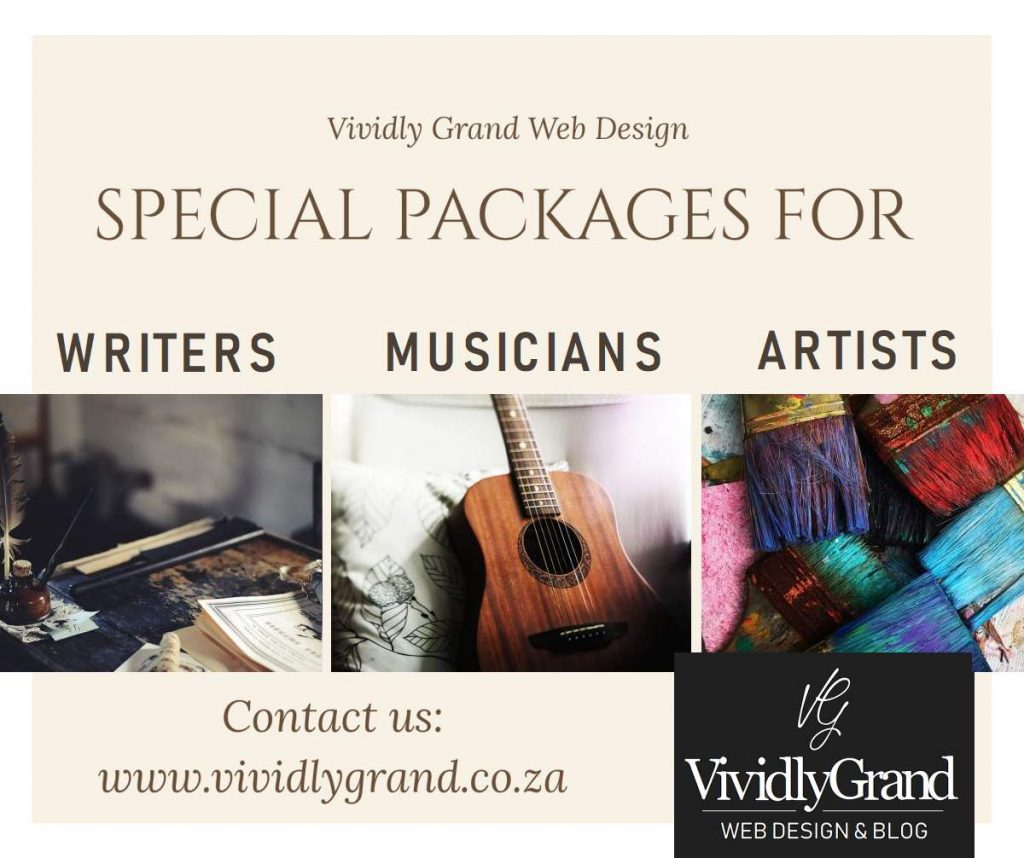 Website special packages for writers, artists and musicians