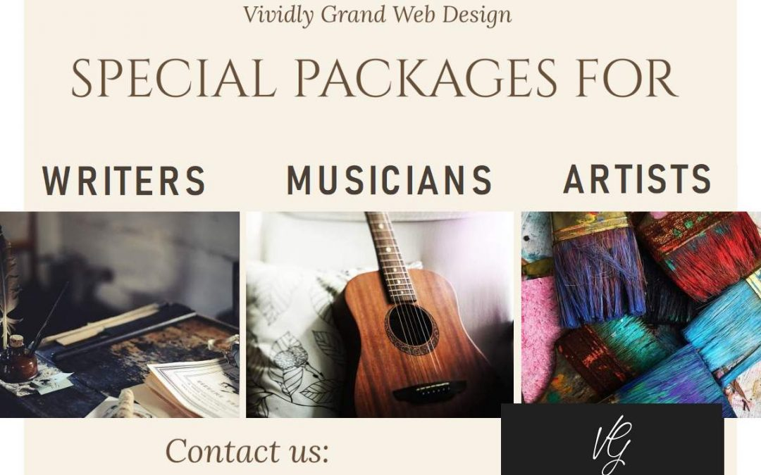 Special website packages for writers, artists and musicians