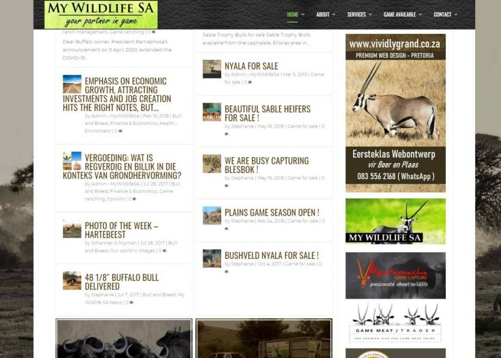 MywildlifeSA Website designed by Vividly Grand