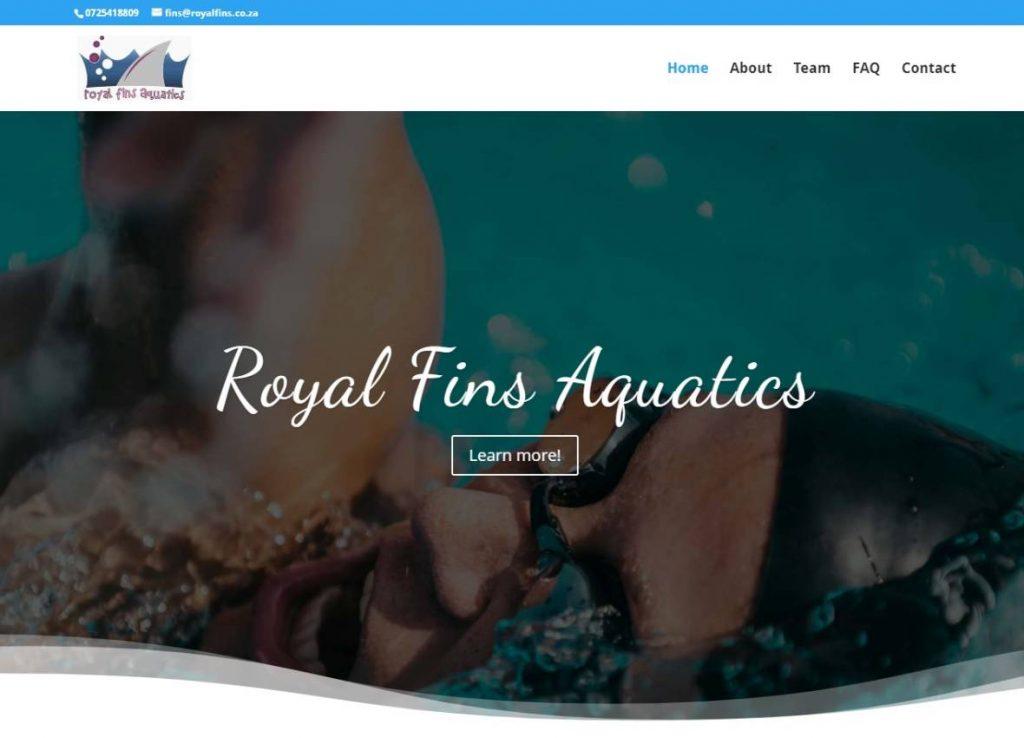 Royal fins aquatics website designed by Vividly Grand